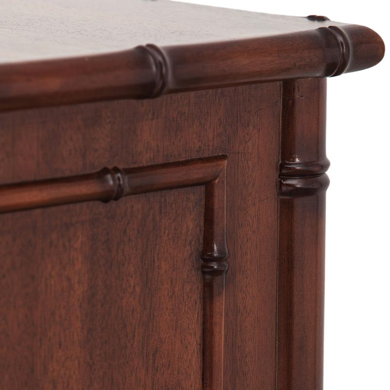 Walnut wood dark accents night stand detail hotel furniture