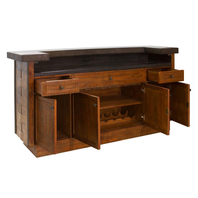 Wood bar stone counter top open hotel furniture