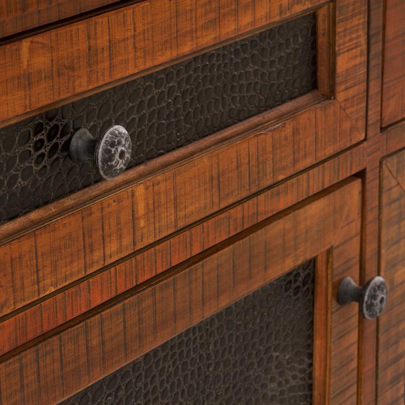 faux crocodile front natural oak back bar cabinet detail