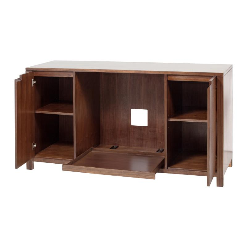 Wood console open doors and shelves hotel furniture